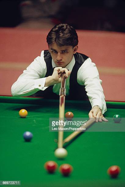 Scottish professional snooker player Alan McManus pictured in action during competition in the 1992 World Snooker Championship at the Crucible...