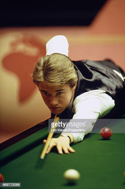 Scottish professional snooker player Stephen Hendry pictured in action during competition in the 1989 World Snooker Championship at the Crucible...