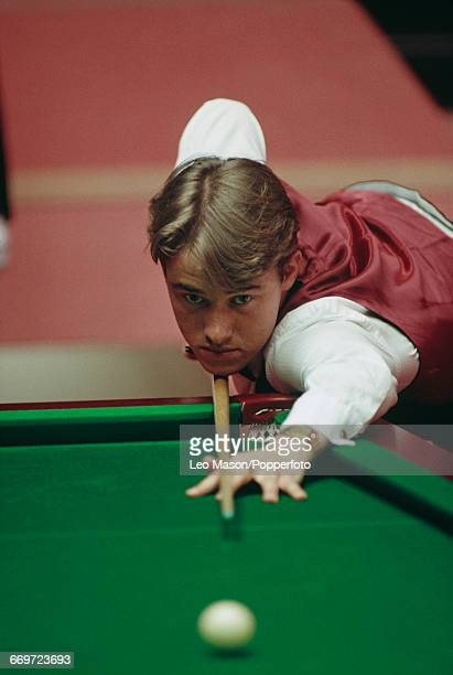 Scottish professional snooker player Stephen Hendry pictured in action during competition in the 1992 World Snooker Championship at the Crucible...