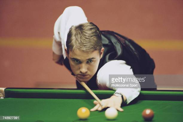 Scottish professional snooker player Stephen Hendry pictured in action during play in the 1996 Embassy World Snooker Championship at the Crucible...