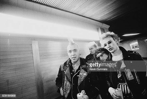 Scottish punk band The Exploited October 1981 Left to right singer Wattie Buchan guitarist Big John Duncan drummer Glen Campbell and bassist Gary...