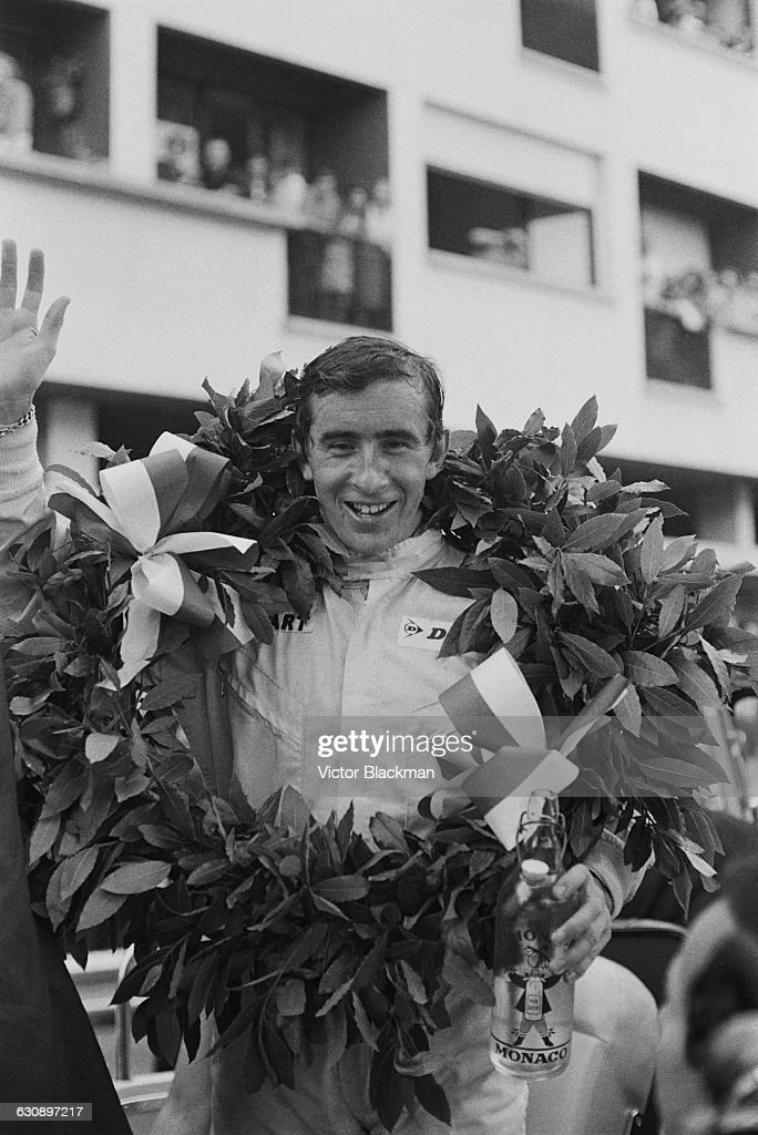 Scottish racing driver <a gi-track='captionPersonalityLinkClicked' href=/galleries/search?phrase=Jackie+Stewart+-+Race+Car+Driver&family=editorial&specificpeople=167276 ng-click='$event.stopPropagation()'>Jackie Stewart</a> after winning the Monaco Grand Prix in a BRM P261, Monte Carlo, 22nd May 1966.