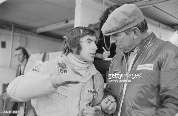 Scottish racing driver Jackie Stewart and Ken Tyrrell at Brands Hatch for practice in the Rothman's World Championship Race UK 22nd October 1971