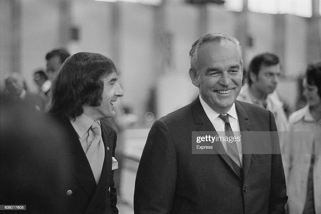 Scottish racing driver Jackie Stewart practising for the Monaco Grand Prix in Monaco - here pictured with Prince Rainier III of Monaco (1923 - 2005), 25th May 1971.