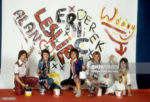 Scottish rock band 'The Bay City Rollers' pose for a portrait in April 1975 in Los Angeles California Alan Longmuir Leslie Mckeown Eric Faulkner...