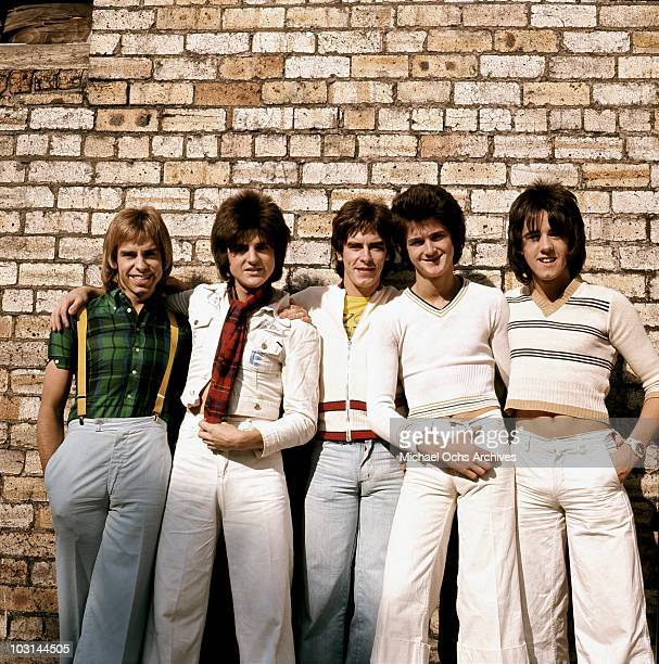 Scottish rock band 'The Bay City Rollers' pose for a portrait in circa 1975 in Los Angeles California Derek Longmuir Eric Faulkner Alan Longmuir...