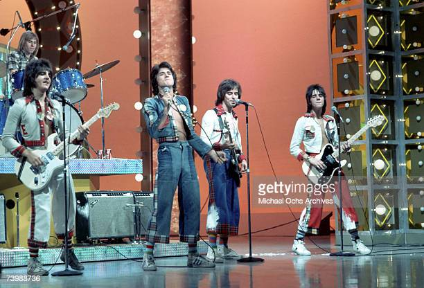 Scottish rock group 'The Bay City Rollers' perform on a TV show in October 1975 in Los Angeles California