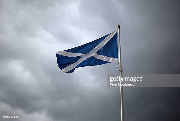 Scottish Saltire flag flies on the border with England on September 14 2014 in Carter Bar Scotland The latest polls in Scotland's independence...
