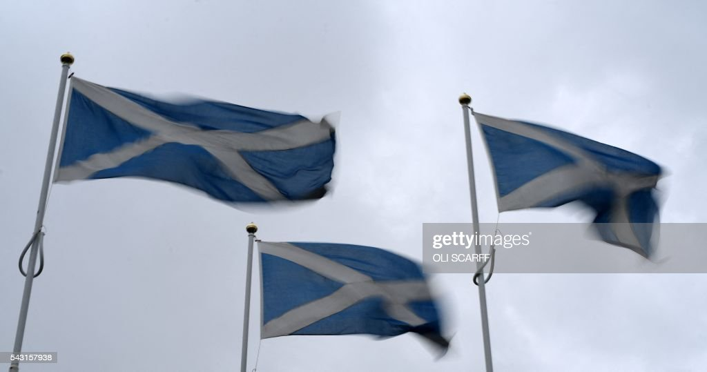 Scottish Saltire flags flutter in the breeze as they mark the border with England, near Berwick-upon-Tweed in northern England close to the border between England and Scotland on June 26, 2016. Scotland's First Minister Nicola Sturgeon campaigned strongly for Britain to remain in the EU, but the vote to leave has given the Scottish National Party leader a fresh shot at securing independence. Sturgeon predicted more than a year ago that a British vote to leave the alliance would give pro-European Scots cause to hold a second referendum on breaking with the UK. SCARFF