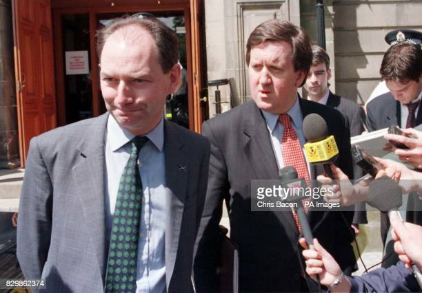Scottish Secretary Michael Forsyth and his Labour shadow George Robertson talks to the gathered media after giving evidence at the Dunblane Inquiry...