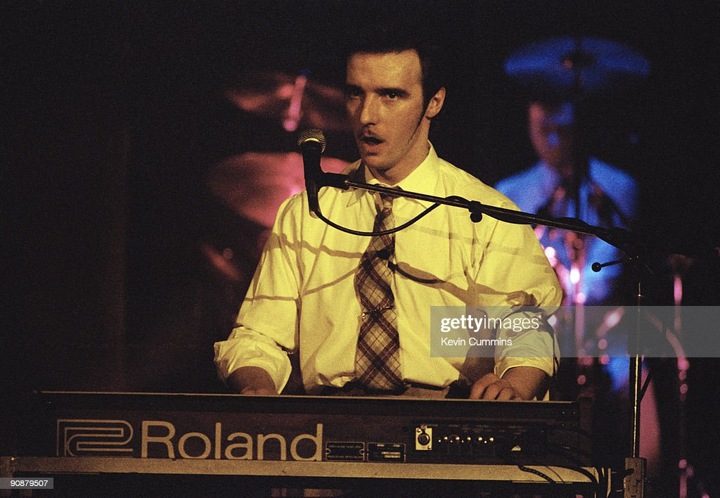 Scottish singer and songwriter Midge Ure performing with Ultravox circa 1980