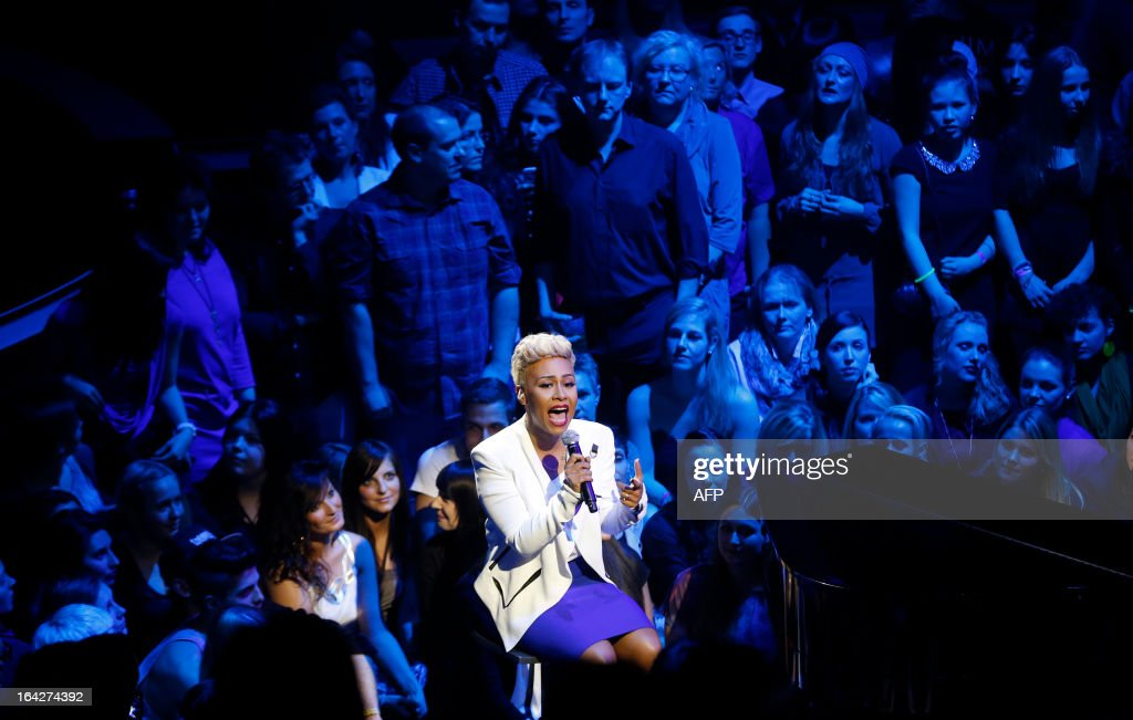 Scottish singer Emeli Sande performs during the 2013 ECHO Music Awards in Berlin, on March 21, 2013. The German music award granted every year by the German Phono academy awards prizes in 27 categories.