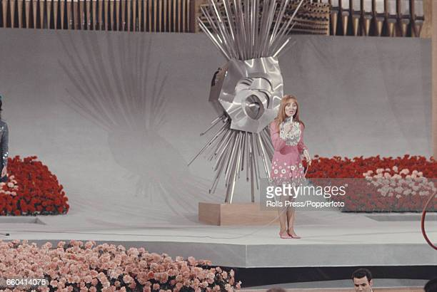 Scottish singer Lulu the United Kingdom's entry for the 1969 Eurovision Song Contest performs her song 'Boom BangaBang' to finish in joint first...