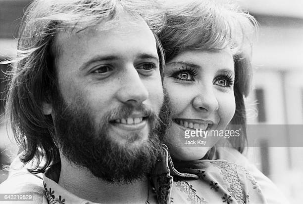Scottish singer Lulu with her husband singer Maurice Gibb of the Bee Gees in the UK before their departure to Las Vegas 3rd June 1971