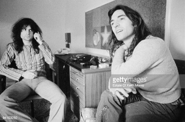 Scottish singers and musicians Malcolm Le Maistre and Mike Heron of psychedelic folk group The Incredible String Band 1971