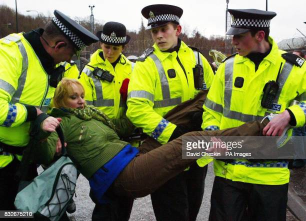 Scottish Socialist Party MSP Carolyn Leckie one of the Parliamentarians taken away after blocking the north Gate of Faslane Naval Base during a...