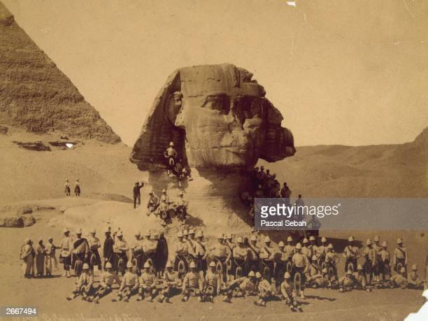 Scottish soldiers at the sphinx of Giza after their victory in the Battle of TelelKebir during the AngloEgyptian conflict for control of the Suez...