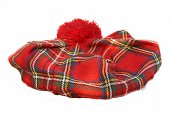Scottish Tartan Hat. Bonnet, isolated on white