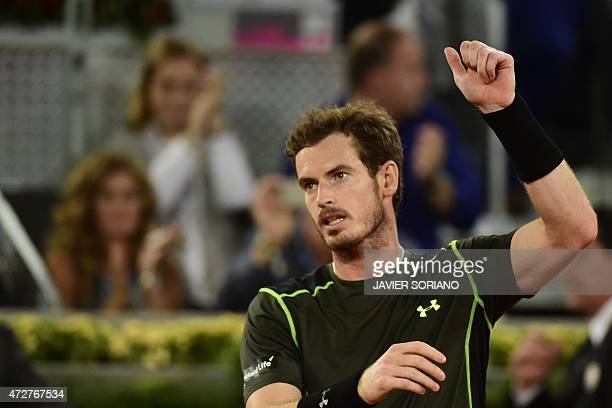 Scottish tennis player Andy Murray celebrates his victory against Japanese tennis player Kei Nishikori during the men semifinal of Madrid Open...