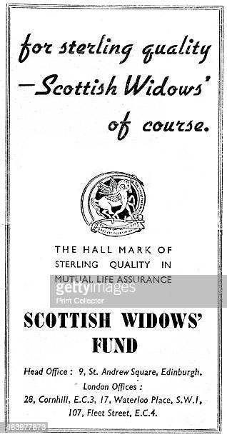 Scottish Widows Fund 1938 Advertisement for the Scottish Widows insurance company