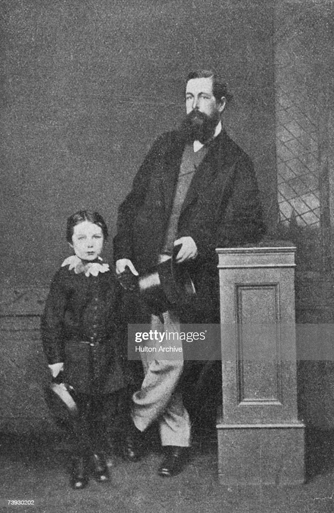 Scottish writer and doctor <a gi-track='captionPersonalityLinkClicked' href=/galleries/search?phrase=Arthur+Conan+Doyle&family=editorial&specificpeople=203200 ng-click='$event.stopPropagation()'>Arthur Conan Doyle</a> (1859 - 1930) as a boy with his father Charles Doyle, May 1865. Original publication: The Bookman, pub. November 1912