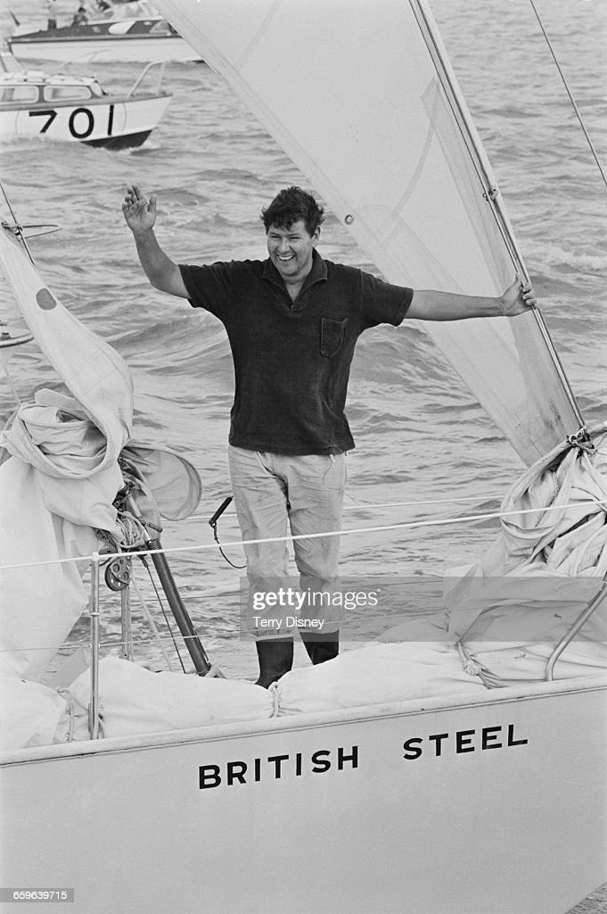 Scottish yachtsman Chay Blyth arrives home in his ketch 'British Steel' after becoming the first person to circumnavigate the globe singlehanded in a...
