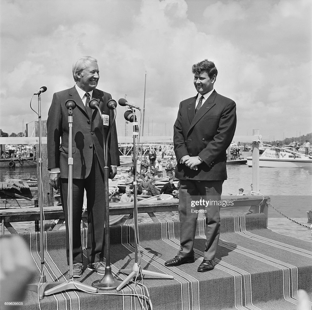 Scottish yachtsman Chay Blyth is greeted by British Prime Minister Edward Heath in the Solent after his epic voyage UK 6th August 1971 Blyth had just...