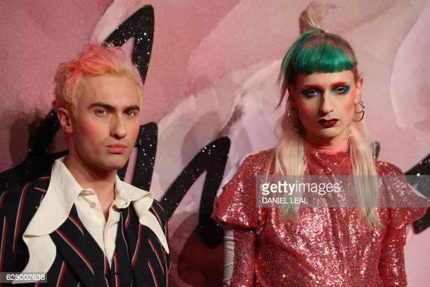 Scottishborn fashion designer Charles Jeffrey poses on the red carpet upon arrival to attend the British Fashion Awards 2016 in London on December 5...