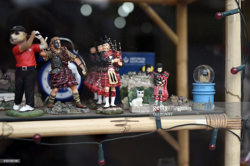 Scottish-themed gifts are displayed for sale in a shop window in the border town of Selkirk in Scotland close to the border between England and Scotland on June 26, 2016. Scotland's First Minister Nicola Sturgeon campaigned strongly for Britain to remain in the EU, but the vote to leave has given the Scottish National Party leader a fresh shot at securing independence. Sturgeon predicted more than a year ago that a British vote to leave the alliance would give pro-European Scots cause to hold a second referendum on breaking with the UK. SCARFF
