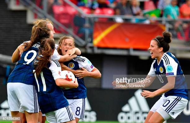 Scottland's midfielder Erin Cuthbert reacts after scoring a goal during the UEFA Women's Euro 2017 football tournament between Scotland and Portugal...