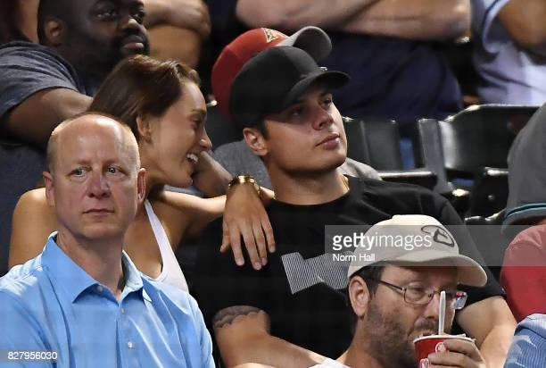 Scottsdale native and first pick of last years NHL draft Austin Matthews of the Toronto Maple Leafs attends an MLB game between the Arizona...