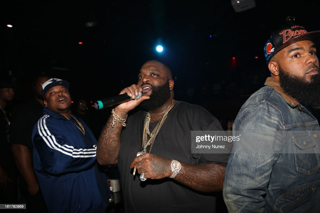 Scotty Boi, Rick Ross and Stalley perform at the Corzo presents NBA All-Star Weekend at Club Roxy on February 15, 2013 in Houston, Texas.