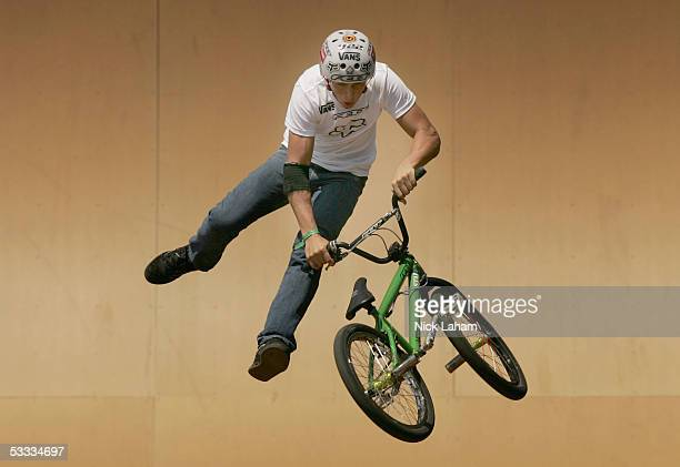 Scotty Cranmer performs a trick during the BMX Freestyle park final at XGames Eleven on August 6 2005 at the Home Depot Center in Los Angeles...