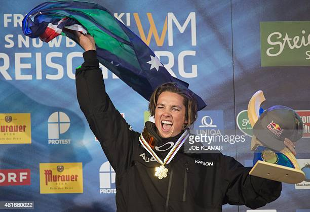 Scotty James of Australia celebrates on the podium of the Men's Snowboard Halfpipe competition of the FIS Freestyle and Snowboarding World Ski...