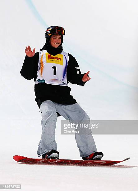 Scotty James of Australia celebrates victory during the Men's Halfpipe Final of the FIS Freestyle Ski and Snowboard World Championship 2015 on...
