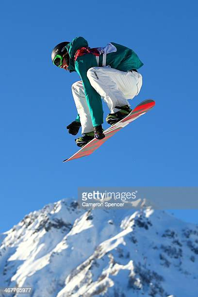 Scotty James of Australia competes during the Snowboard Men's Slopestyle Semifinals during day 1 of the Sochi 2014 Winter Olympics at Rosa Khutor...