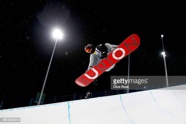 Scotty James of Australia in action during Snowboard Halfpipe training ahead of the FIS Freestyle Ski World Championships on January 14 2015 in...