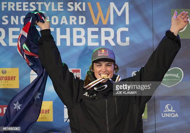 Scotty James of Australia poses with his medal on the podium of the Men's Snowboard Halfpipe competition of the FIS Freestyle and Snowboarding World...