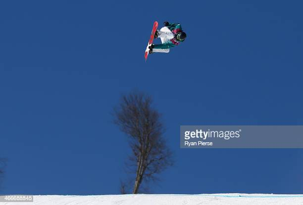 Scotty James of Australia practices during training for Snowboard Slopestyle at the Extreme Park at Rosa Khutor Mountain on February 3 2014 in Sochi...