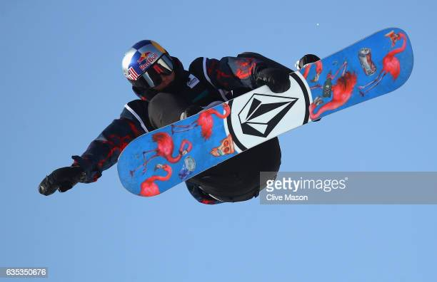 Scotty James of Australia rides during a training session for the FIS Freestyle World Cup 2016/17 Snowboard Halfpipe at Bokwang Snow Park on February...