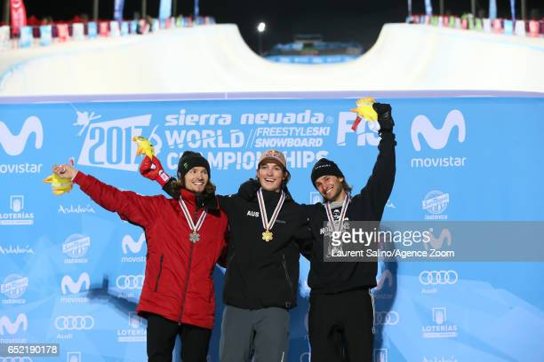 Scotty James of Australia wins the gold medal Iouri Podladtchikov of Switzerland wins the silver medal Patrick Burgener of Switzerland wins the...