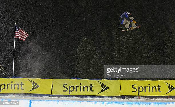 Scotty Lago competes during finals for the FIS Snowboard Halfpipe World Cup at US Snowboarding and Freeskiing Grand Prix on December 21 2013 in...
