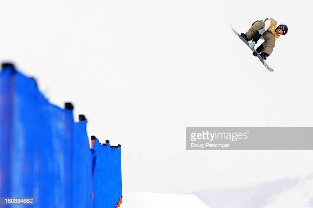 Scotty Lago competes in the semifinals of the FIS Snowboard Halfpipe World Cup at the Sprint US Grand Prix at Park City Mountain on January 30 2013...