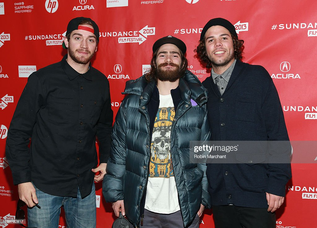 Scotty Lago, Danny Davis and Mason Aguirre attend 'The Crash Reel' premiere at The Marc Theatre during the 2013 Sundance Film Festival on January 19, 2013 in Park City, Utah.