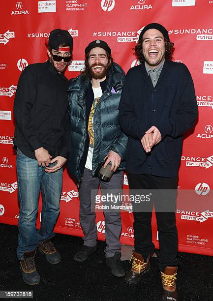Scotty Lago Danny Davis and Mason Aguirre attend 'The Crash Reel' premiere at The Marc Theatre during the 2013 Sundance Film Festival on January 19...