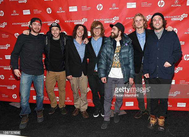 Scotty Lago Jack Mitrani Luke Mitrani Kevin Pearce Danny Davis Mikkel Bang and Mason Aguirre attend 'The Crash Reel' premiere at The Marc Theatre...