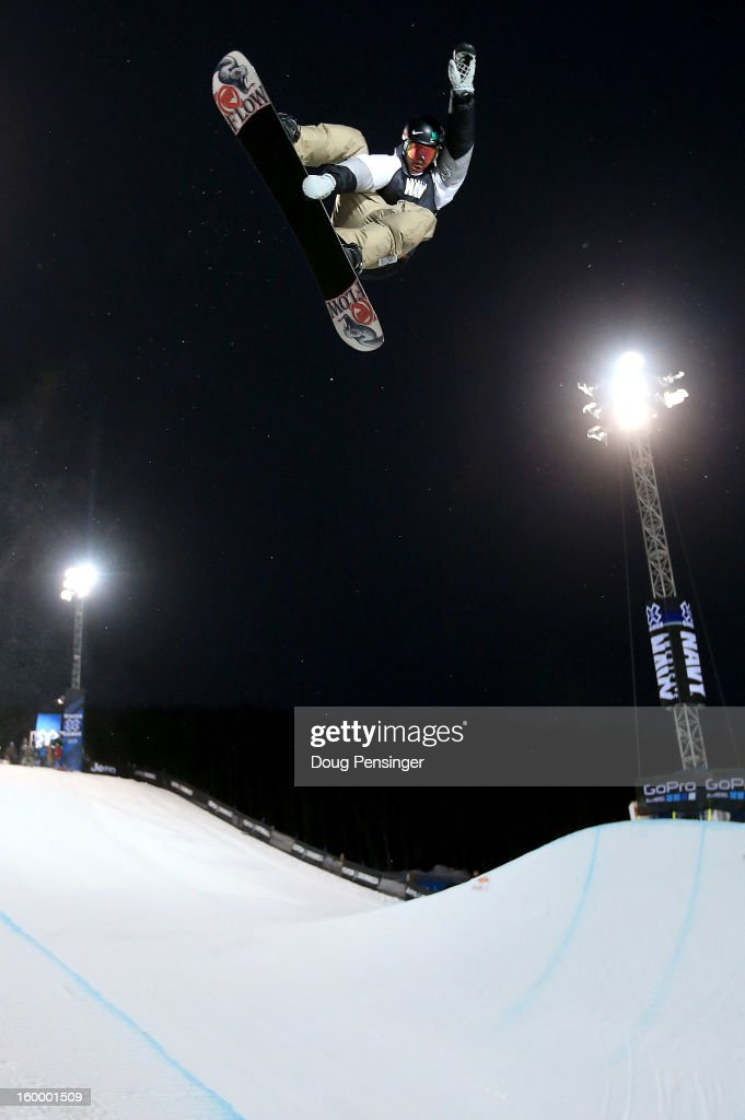 <a gi-track='captionPersonalityLinkClicked' href=/galleries/search?phrase=Scotty+Lago&family=editorial&specificpeople=787593 ng-click='$event.stopPropagation()'>Scotty Lago</a> of the USA does a frontside air above the halfpipe during practice for the Men's Snowboard Superpipe Elimination at Winter X Games Aspen 2013 at Buttermilk Mountain on January 24, 2013 in Aspen, Colorado.