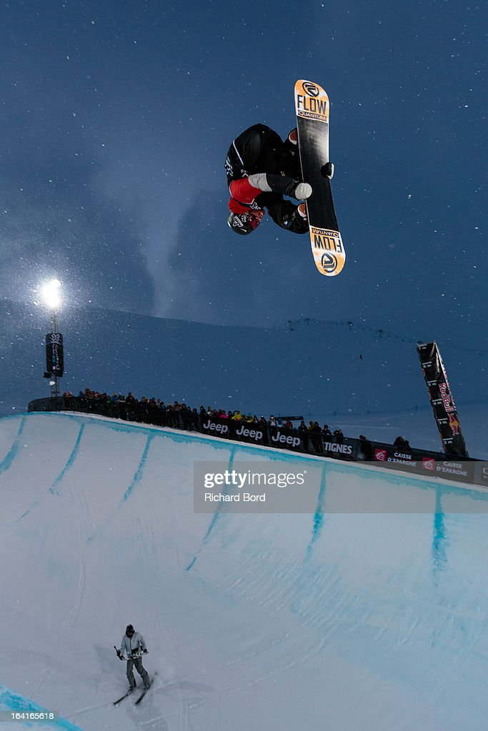 Scotty Lago of the USA performs as he qualifies second during the Men's Snowboard Superpipe elimination during day three of Winter X Games Europe 2013 on March 20, 2013 in Tignes, France.