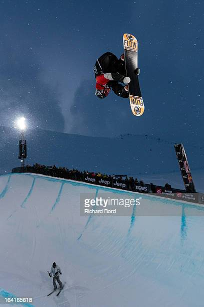Scotty Lago of the USA performs as he qualifies second during the Men's Snowboard Superpipe elimination during day three of Winter X Games Europe...