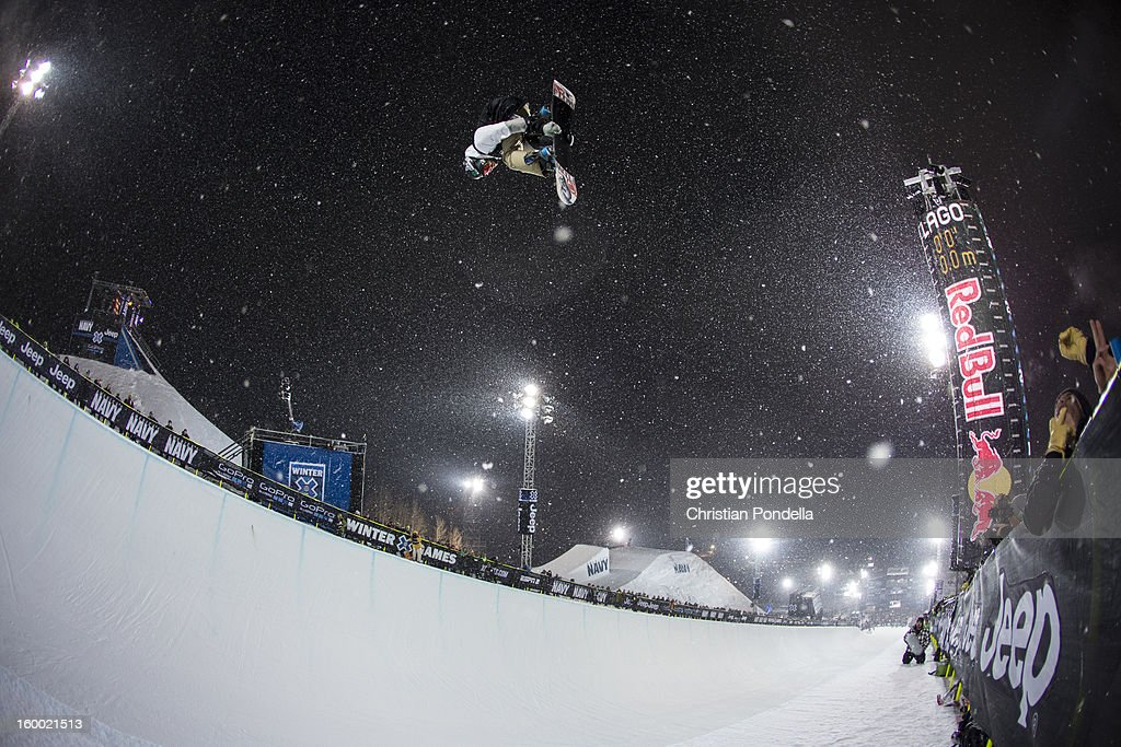 <a gi-track='captionPersonalityLinkClicked' href=/galleries/search?phrase=Scotty+Lago&family=editorial&specificpeople=787593 ng-click='$event.stopPropagation()'>Scotty Lago</a> of the USA rides during Men's Snowboarding Qualifier at the X Games Aspen 2013 at Buttermilk January 24, 2013 in Aspen, Colorado.